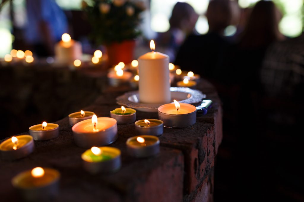 candles at a funeral service