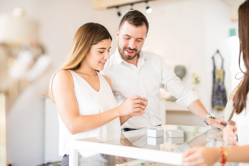 Couple choosing a ring