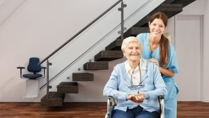 Senior with an stair lift on the stairway