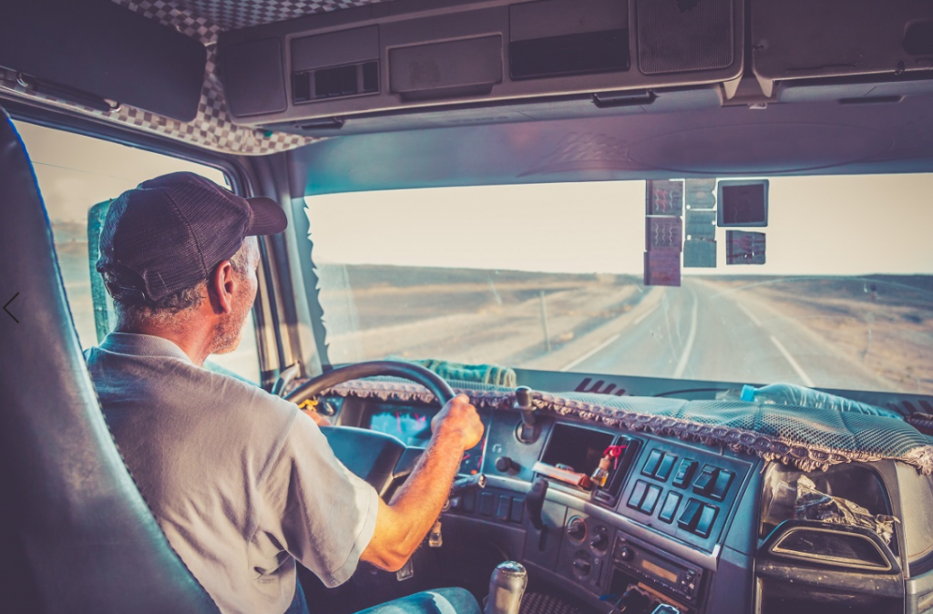 Truck driver focused on driving