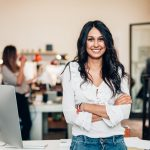 Businesswoman smiling in her office