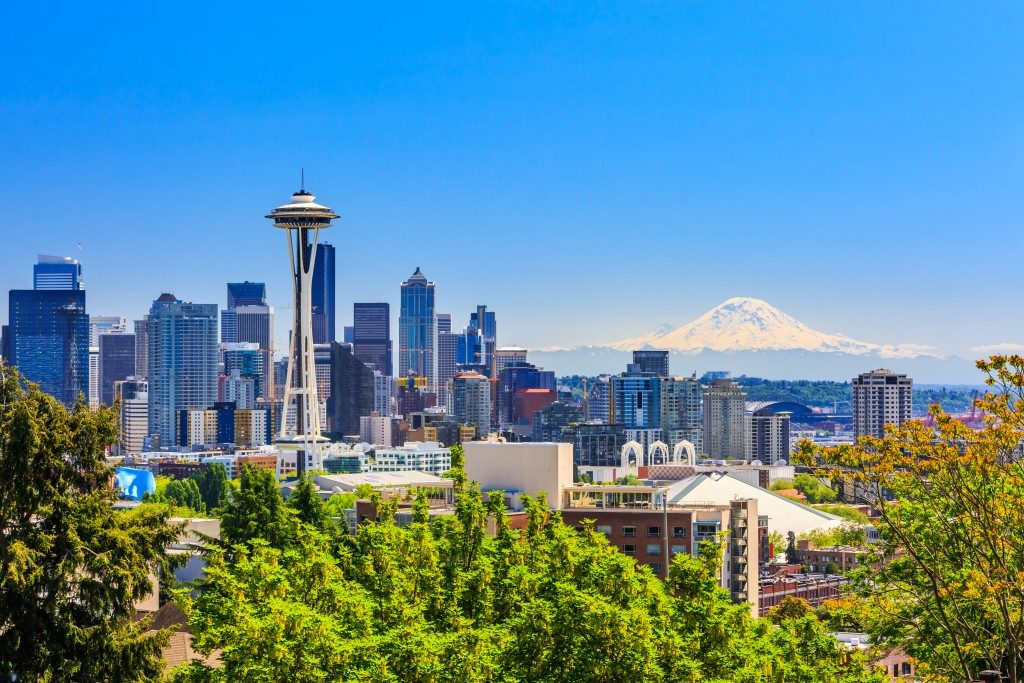Seattle downtown skyline and Mt. Rainier, Washington.