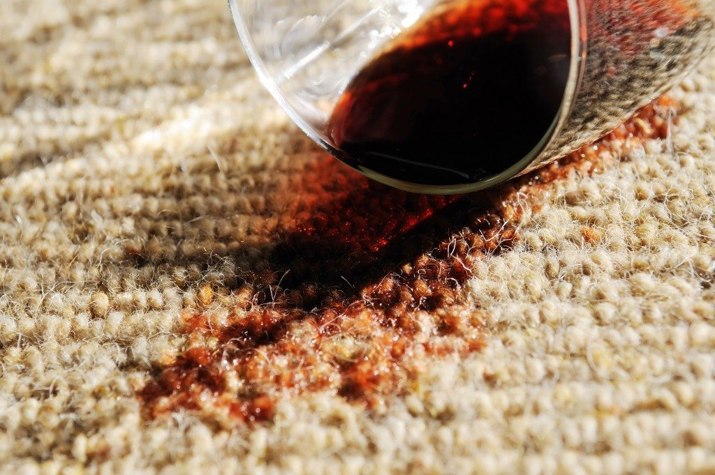 Glass of wine on a carpet
