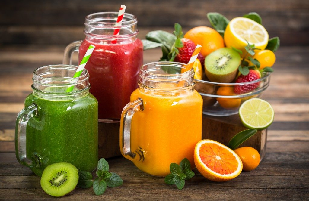 fruit juices in masoin jars