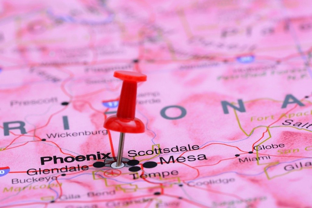 Arizona pinned on map