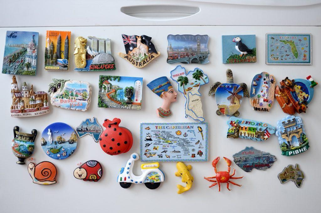 souvenirs on a fridge