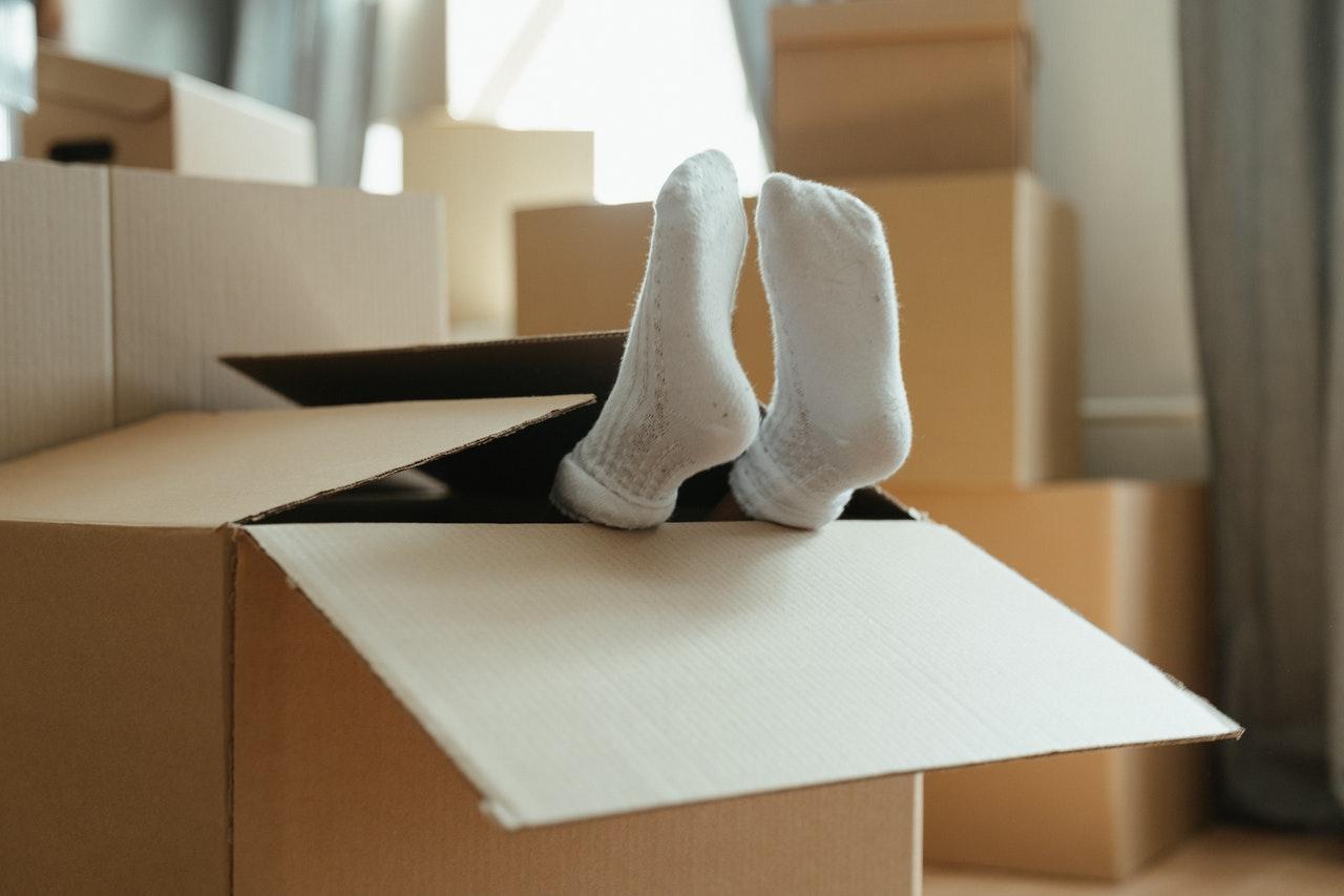 person inside a box