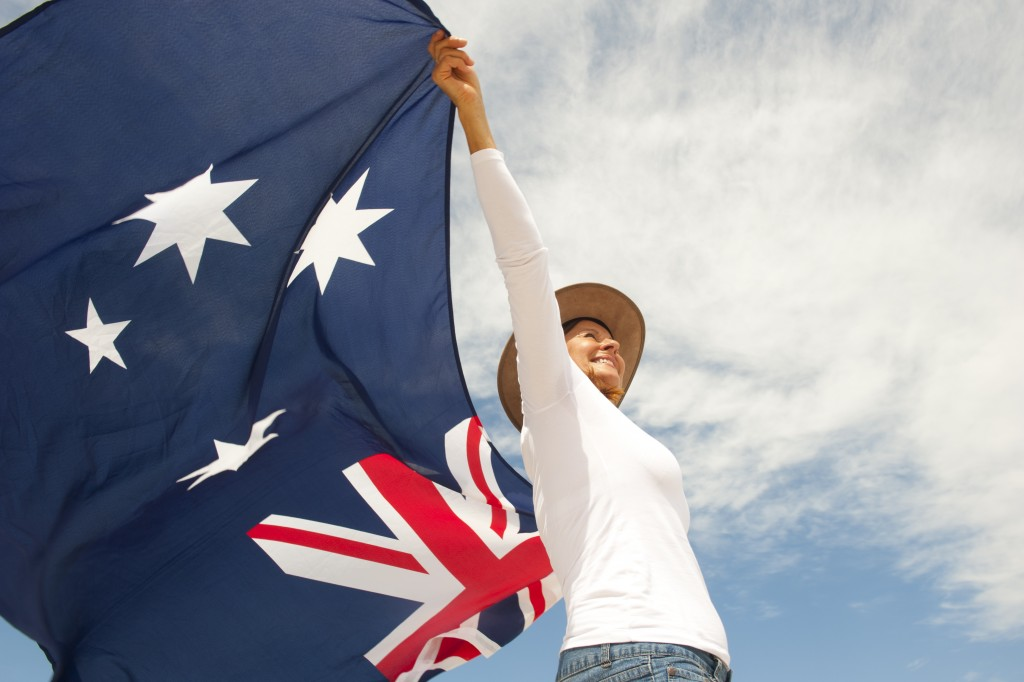 woman holding an australian flag