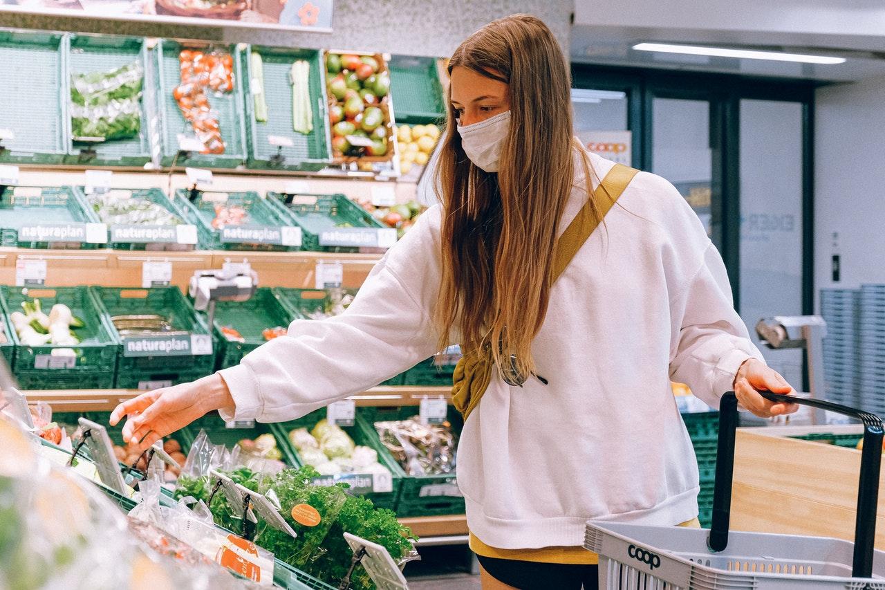 grocery shopping wearing facemask