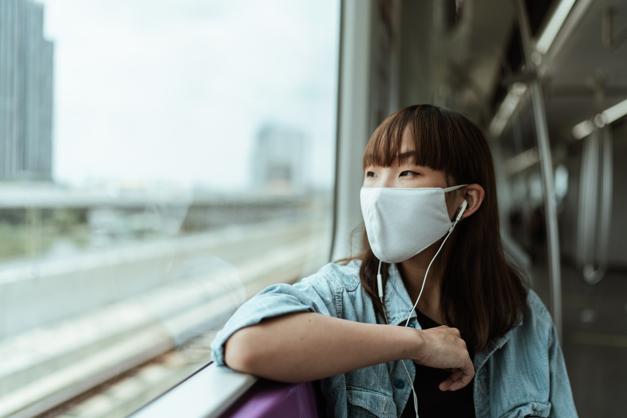 woman wearing facemask on the train
