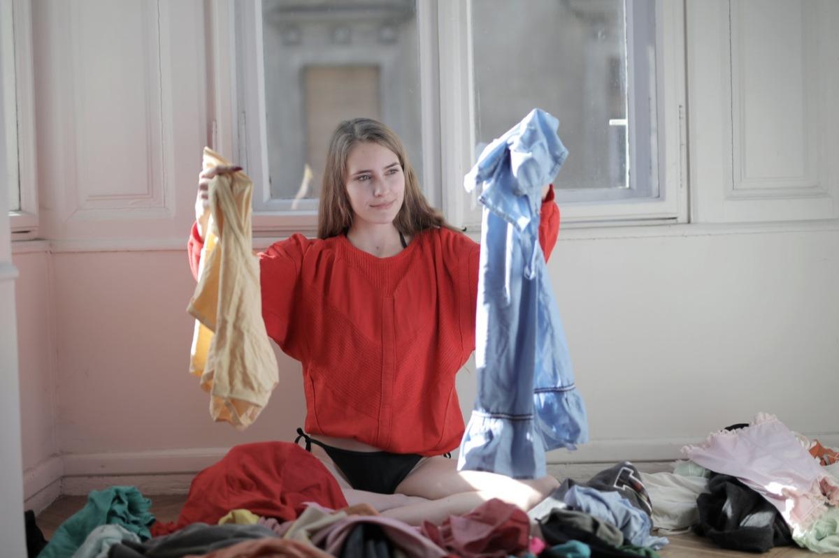 woman segregating clothes