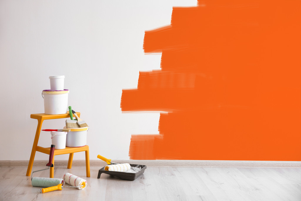 wall being painted